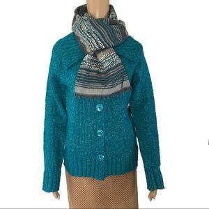 NWT BCBG MAX AZRIA Turquoise Wool Blend Cardigan